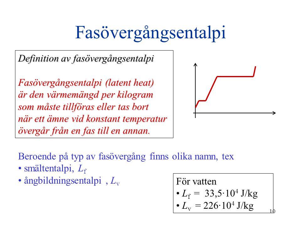 10 Fasövergångsentalpi Definition av fasövergångsentalpi Fasövergångsentalpi (latent heat) är den värmemängd per kilogram som måste tillföras eller ta