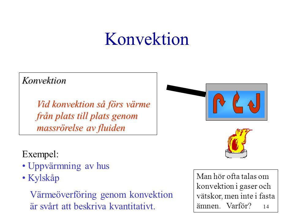 14 Konvektion Konvektion Vid konvektion så förs värme från plats till plats genom massrörelse av fluiden Exempel: Uppvärmning av hus Kylskåp Värmeöver