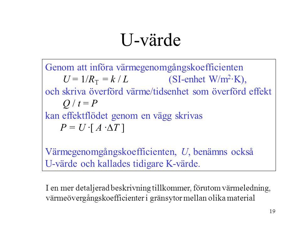 19 U-värde Genom att införa värmegenomgångskoefficienten U = 1/R T = k / L (SI-enhet W/m 2 ·K), och skriva överförd värme/tidsenhet som överförd effek