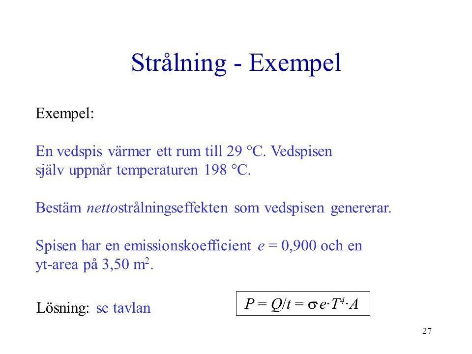 27 Strålning - Exempel Exempel: En vedspis värmer ett rum till 29 °C. Vedspisen själv uppnår temperaturen 198 °C. Bestäm nettostrålningseffekten som v