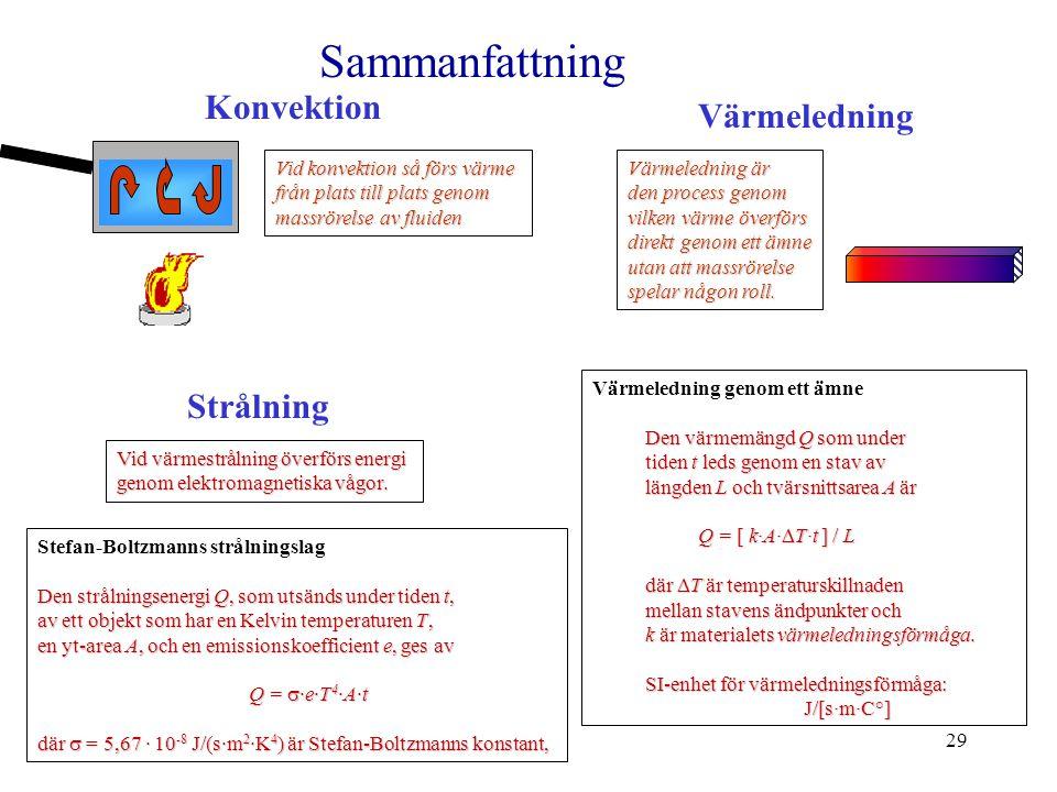 29 Värmeledning genom ett ämne Den värmemängd Q som under tiden t leds genom en stav av längden L och tvärsnittsarea A är Q = [ k·A·  T·t ] / L där 