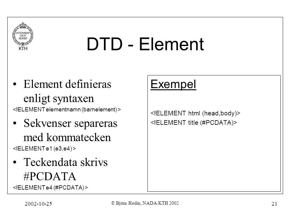 2002-10-25 © Björn Hedin, NADA/KTH 2002 21 DTD - Element Element definieras enligt syntaxen Sekvenser separeras med kommatecken Teckendata skrivs #PCDATA Exempel
