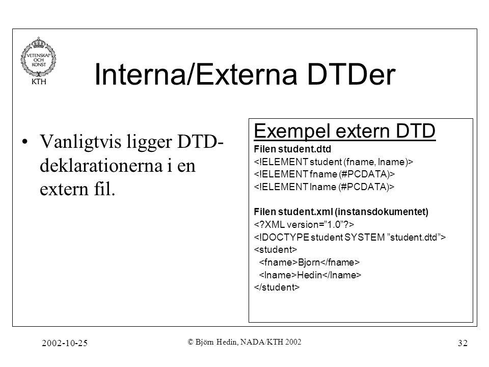 2002-10-25 © Björn Hedin, NADA/KTH 2002 32 Interna/Externa DTDer Vanligtvis ligger DTD- deklarationerna i en extern fil.