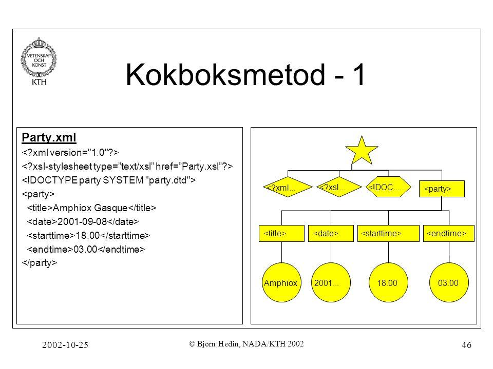 2002-10-25 © Björn Hedin, NADA/KTH 2002 46 Kokboksmetod - 1 Party.xml Amphiox Gasque 2001-09-08 18.00 03.00 <?xml...