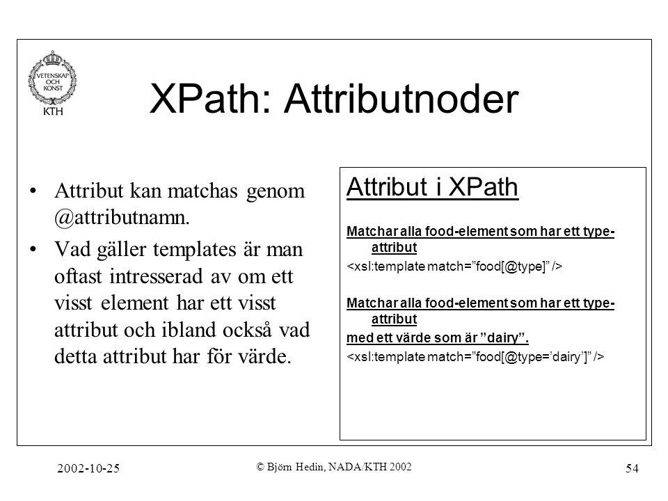 2002-10-25 © Björn Hedin, NADA/KTH 2002 54 XPath: Attributnoder Attribut kan matchas genom @attributnamn.