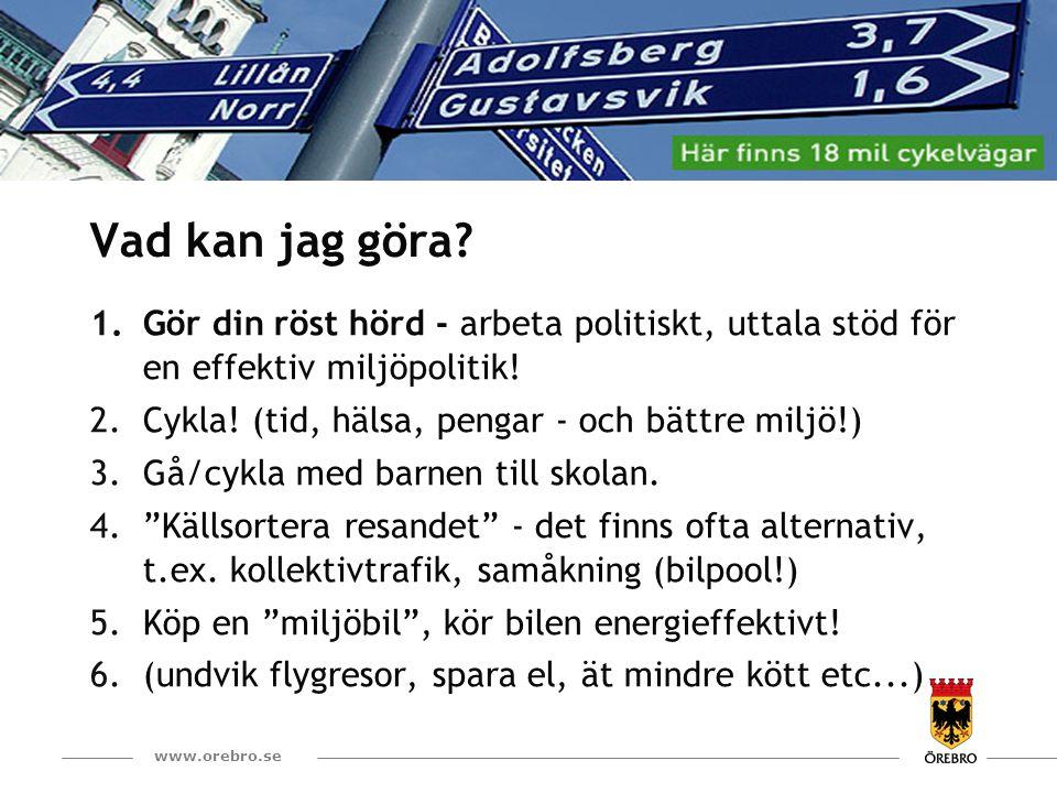 16 www.orebro.se Vad kan jag göra? 1.Gör din röst hörd - arbeta politiskt, uttala stöd för en effektiv miljöpolitik! 2.Cykla! (tid, hälsa, pengar - oc