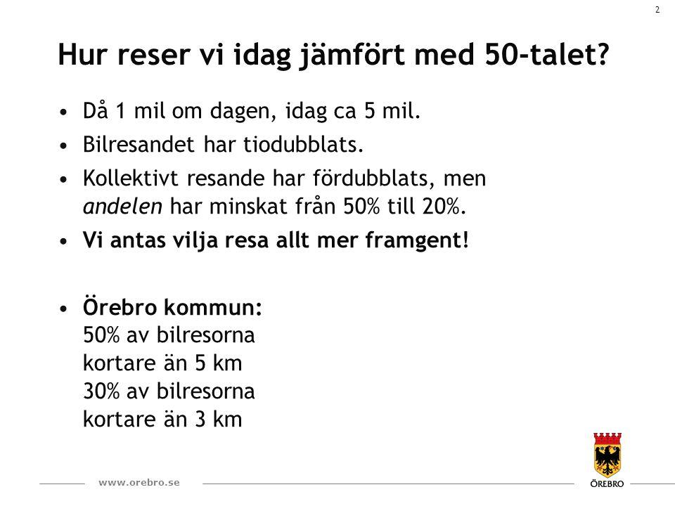 3 www.orebro.se Resande inom Örebro kommun Ganska stabilt över tiden – men inte hugget i sten.