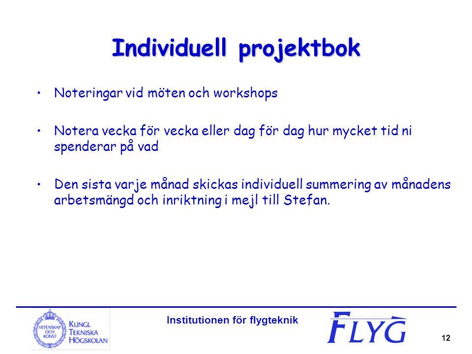 Institutionen för flygteknik 12 Individuell projektbok Noteringar vid möten och workshops Notera vecka för vecka eller dag för dag hur mycket tid ni s