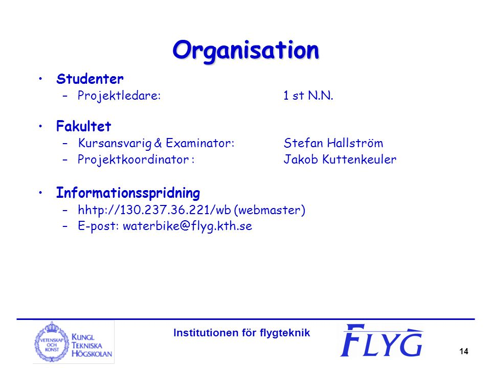 Institutionen för flygteknik 14 Organisation Studenter –Projektledare:1 st N.N.