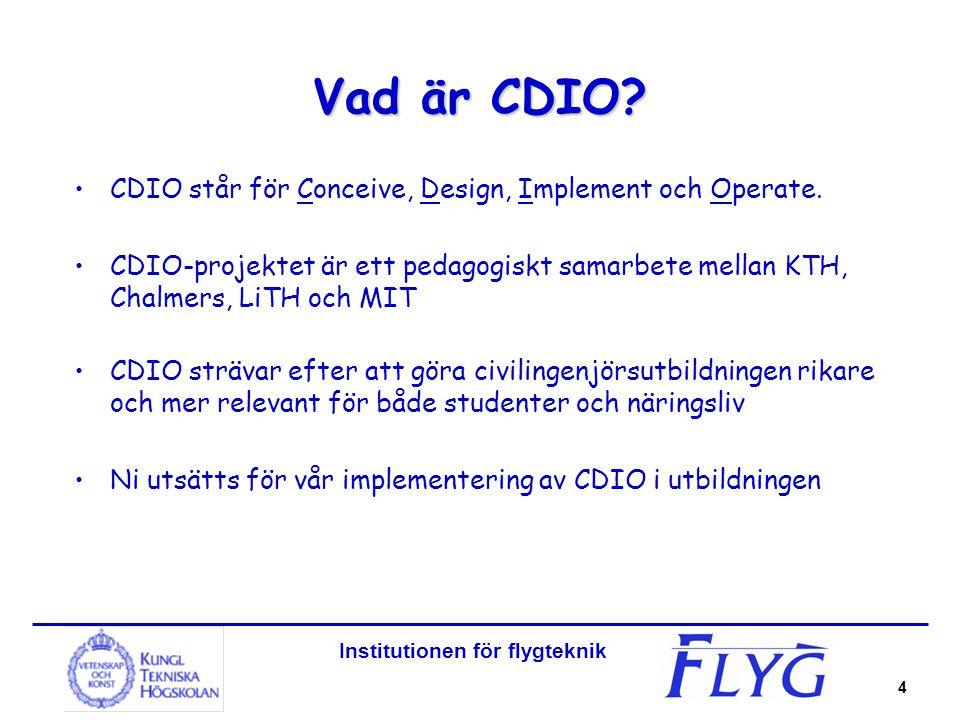 4 Vad är CDIO? CDIO står för Conceive, Design, Implement och Operate. CDIO-projektet är ett pedagogiskt samarbete mellan KTH, Chalmers, LiTH och MIT C
