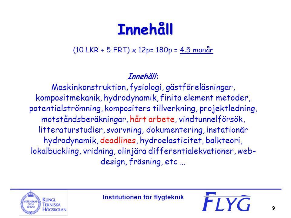 Institutionen för flygteknik 9 Innehåll (10 LKR + 5 FRT) x 12p= 180p = 4.5 manår Innehåll: Maskinkonstruktion, fysiologi, gästföreläsningar, kompositm