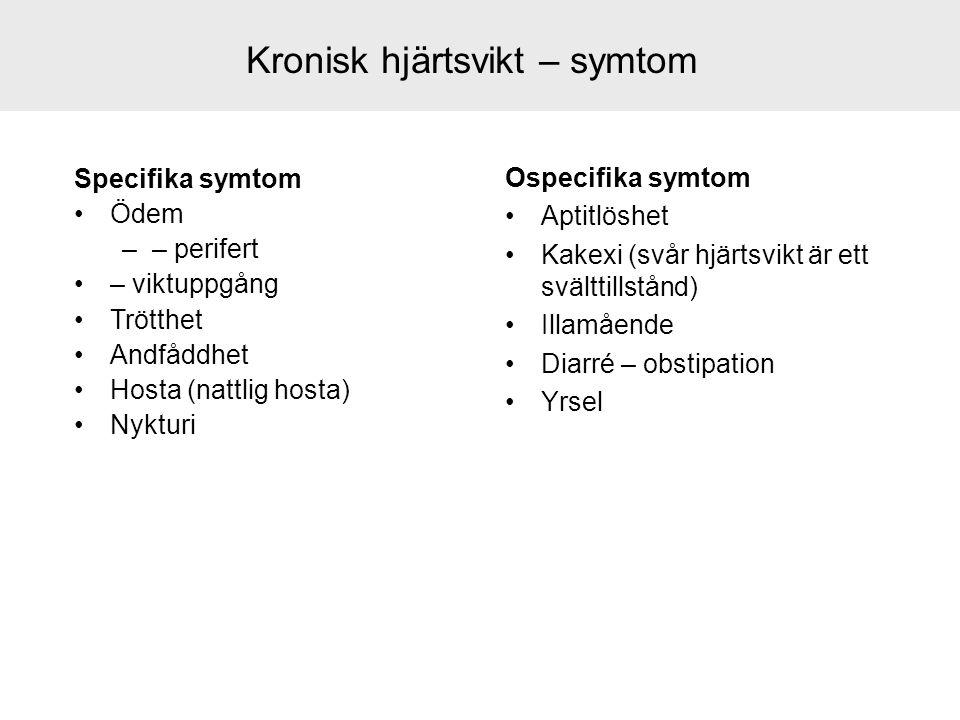 Kronisk hjärtsvikt – symtom Specifika symtom Ödem –– perifert – viktuppgång Trötthet Andfåddhet Hosta (nattlig hosta) Nykturi Ospecifika symtom Aptitl