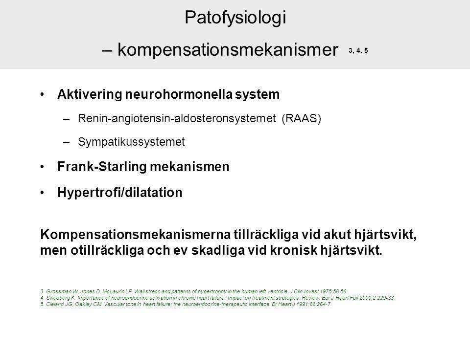 Patofysiologi – kompensationsmekanismer 3, 4, 5 Aktivering neurohormonella system –Renin-angiotensin-aldosteronsystemet (RAAS) –Sympatikussystemet Fra