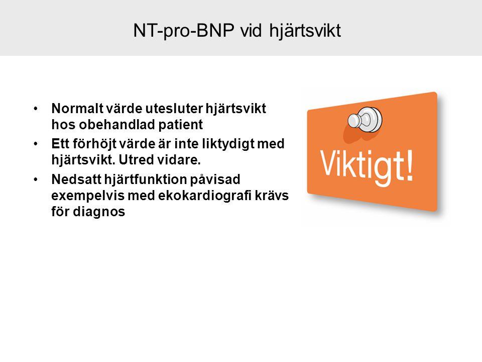 NT-pro-BNP vid hjärtsvikt Normalt värde utesluter hjärtsvikt hos obehandlad patient Ett förhöjt värde är inte liktydigt med hjärtsvikt. Utred vidare.