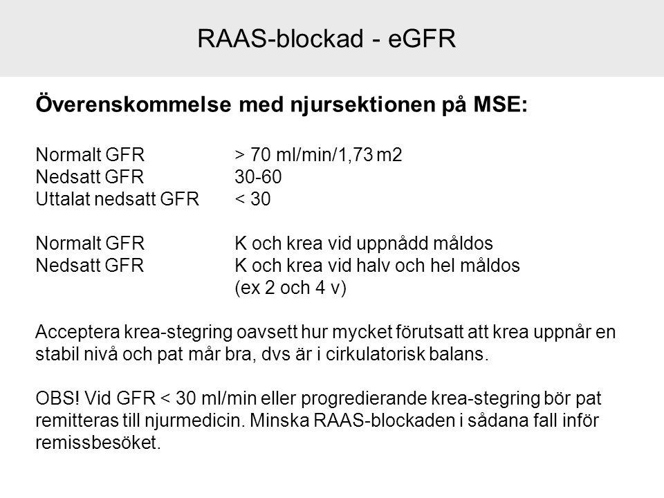 Överenskommelse med njursektionen på MSE: Normalt GFR > 70 ml/min/1,73 m2 Nedsatt GFR30-60 Uttalat nedsatt GFR < 30 Normalt GFRK och krea vid uppnådd