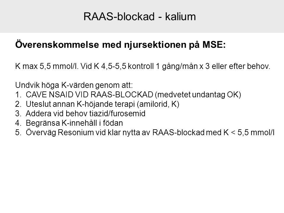 RAAS-blockad - kalium Överenskommelse med njursektionen på MSE: K max 5,5 mmol/l. Vid K 4,5-5,5 kontroll 1 gång/mån x 3 eller efter behov. Undvik höga