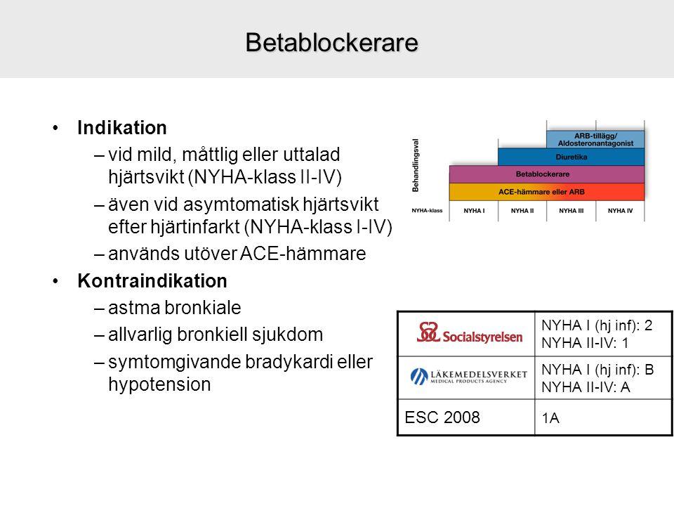 Betablockerare Indikation –vid mild, måttlig eller uttalad hjärtsvikt (NYHA-klass II-IV) –även vid asymtomatisk hjärtsvikt efter hjärtinfarkt (NYHA-kl