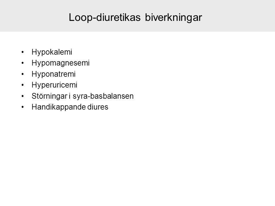 Loop-diuretikas biverkningar Hypokalemi Hypomagnesemi Hyponatremi Hyperuricemi Störningar i syra-basbalansen Handikappande diures