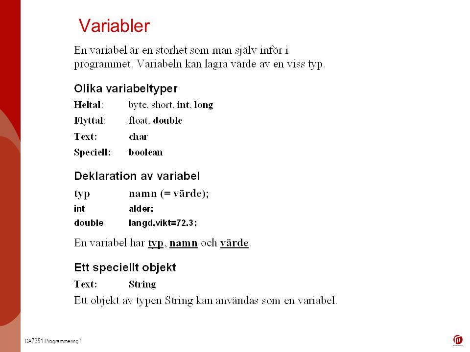 DA7351 Programmering 1 Variabler
