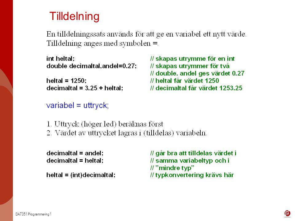 DA7351 Programmering 1 Tilldelning