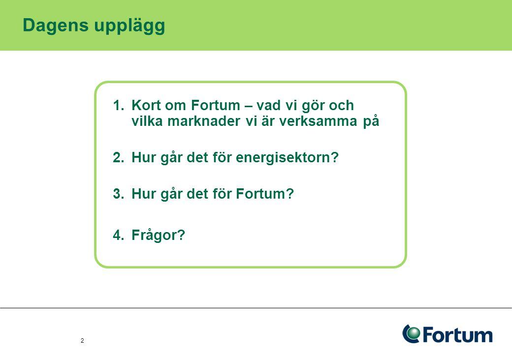 3 Dagens upplägg 1.Kort om Fortum – vad vi gör och vilka marknader vi är verksamma på 2.Hur går det för energisektorn.