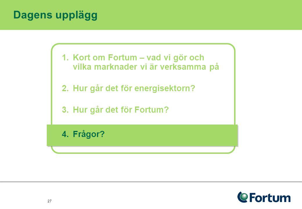 27 Dagens upplägg 1.Kort om Fortum – vad vi gör och vilka marknader vi är verksamma på 2.Hur går det för energisektorn? 3.Hur går det för Fortum? 4.Fr