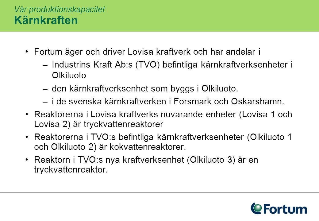 Vår produktionskapacitet Vattenkraften Cirka 44% av Fortums europeiska elproduktion kommer från vattenkraften Fortum äger helt eller delvis 260 kraftverk i Sverige och Finland Vattenkraften har en nyckelroll: den skapar balans mellan produktion och förbrukning Vattenkraften är förmånlig och vattenkraftanläggningarna har lång livslängd