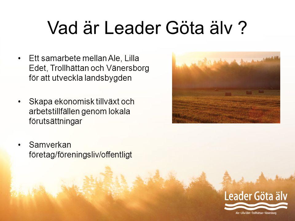 Vad är Leader Göta älv ? Ett samarbete mellan Ale, Lilla Edet, Trollhättan och Vänersborg för att utveckla landsbygden Skapa ekonomisk tillväxt och ar