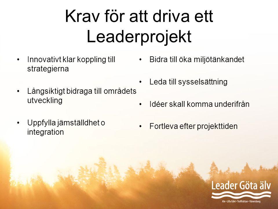 Krav för att driva ett Leaderprojekt Innovativt klar koppling till strategierna Långsiktigt bidraga till områdets utveckling Uppfylla jämställdhet o i