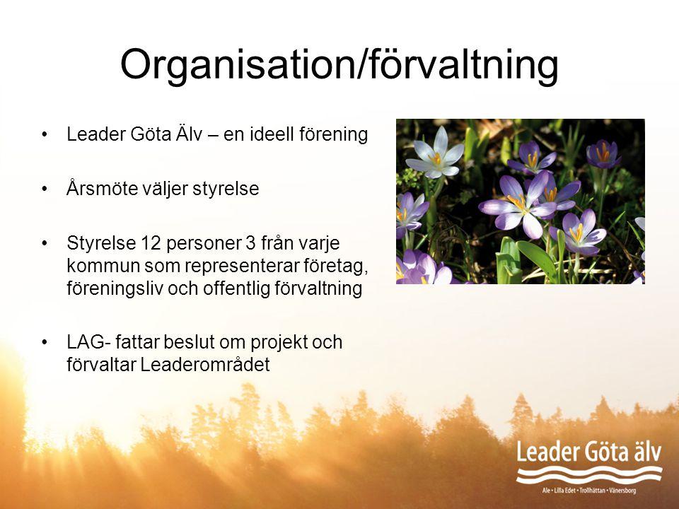 Organisation/förvaltning Leader Göta Älv – en ideell förening Årsmöte väljer styrelse Styrelse 12 personer 3 från varje kommun som representerar föret
