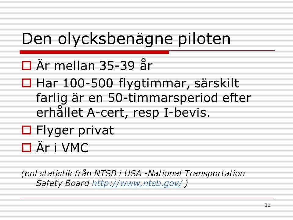 12 Den olycksbenägne piloten  Är mellan 35-39 år  Har 100-500 flygtimmar, särskilt farlig är en 50-timmarsperiod efter erhållet A-cert, resp I-bevis