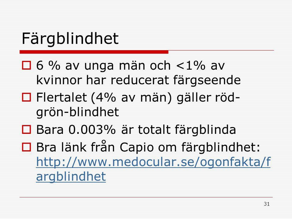 31 Färgblindhet  6 % av unga män och <1% av kvinnor har reducerat färgseende  Flertalet (4% av män) gäller röd- grön-blindhet  Bara 0.003% är total