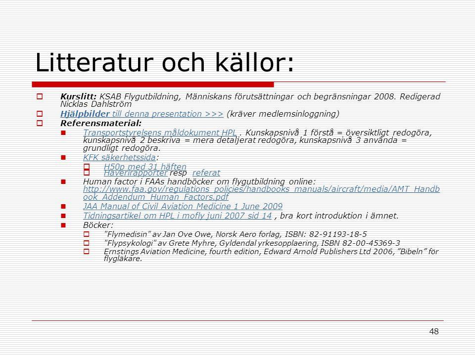 48 Litteratur och källor:  Kurslitt: KSAB Flygutbildning, Människans förutsättningar och begränsningar 2008. Redigerad Nicklas Dahlström  Hjälpbilde
