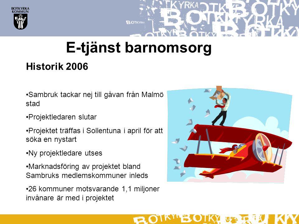 E-tjänst barnomsorg Historik 2006 Sambruk tackar nej till gåvan från Malmö stad Projektledaren slutar Projektet träffas i Sollentuna i april för att söka en nystart Ny projektledare utses Marknadsföring av projektet bland Sambruks medlemskommuner inleds 26 kommuner motsvarande 1,1 miljoner invånare är med i projektet