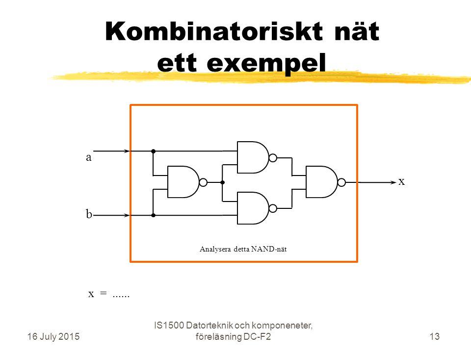 Kombinatoriskt nät ett exempel 16 July 2015 IS1500 Datorteknik och komponeneter, föreläsning DC-F213 b a x Analysera detta NAND-nät x =......