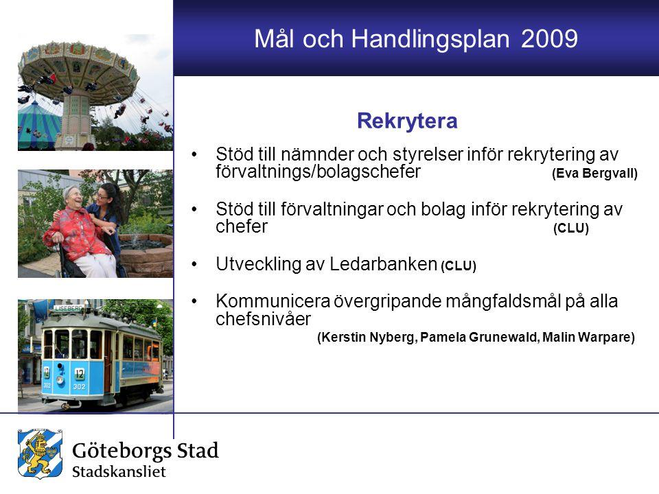 Mål och Handlingsplan 2009 Stöd till nämnder och styrelser inför rekrytering av förvaltnings/bolagschefer (Eva Bergvall) Stöd till förvaltningar och b