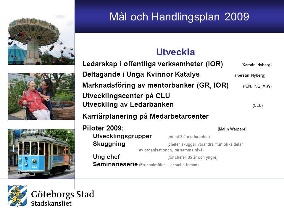 Mål och Handlingsplan 2009 Ledarskap i offentliga verksamheter (IOR) (Kerstin Nyberg) Deltagande i Unga Kvinnor Katalys (Kerstin Nyberg) Marknadsförin