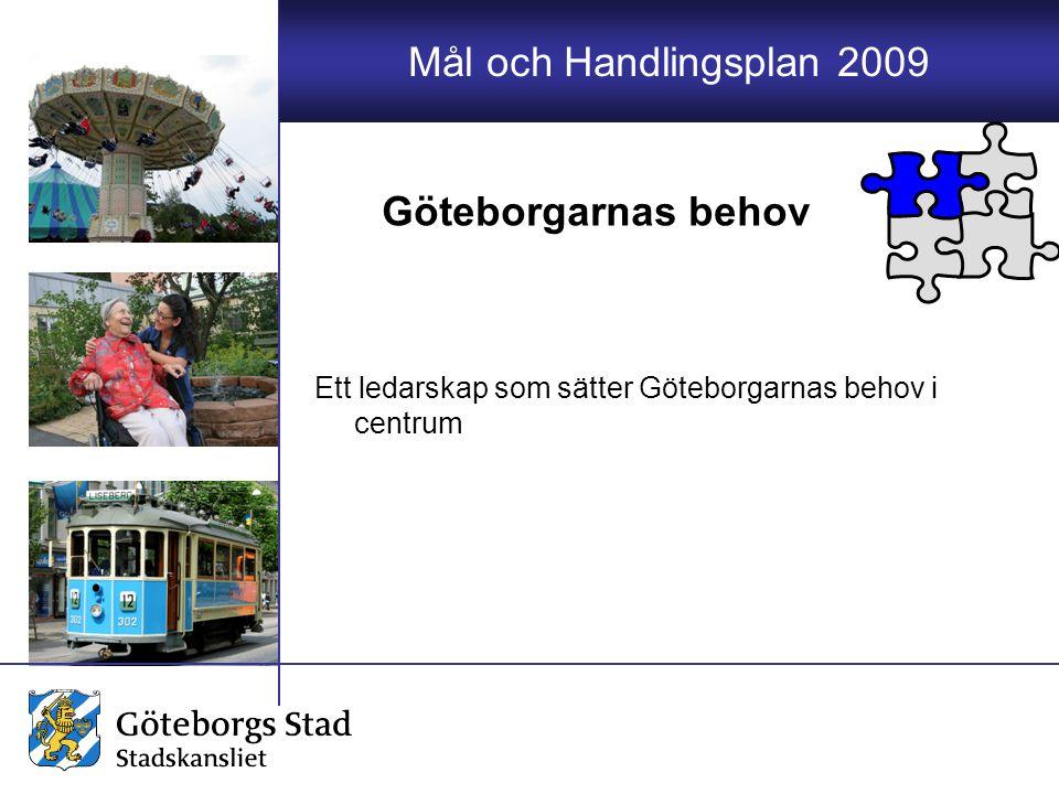 Mål och Handlingsplan 2009 Ett ledarskap som sätter Göteborgarnas behov i centrum Göteborgarnas behov