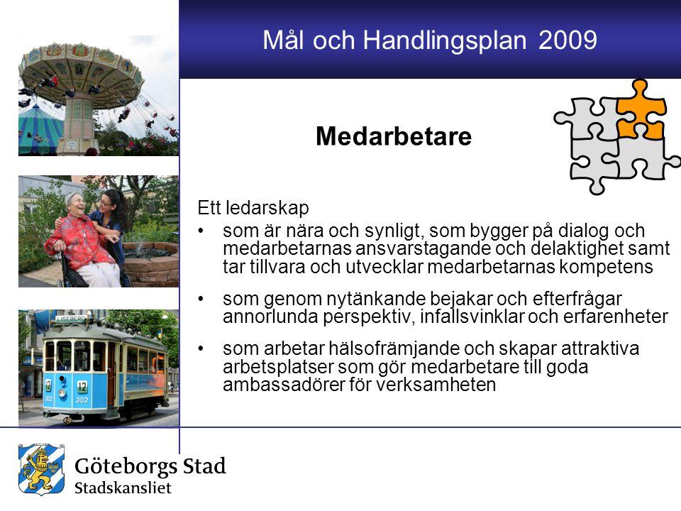 Mål och Handlingsplan 2009 Ett ledarskap som är nära och synligt, som bygger på dialog och medarbetarnas ansvarstagande och delaktighet samt tar tillv