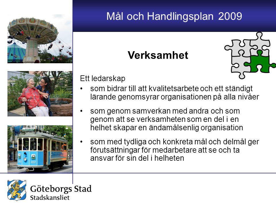 Mål och Handlingsplan 2009 Ett ledarskap som bidrar till att kvalitetsarbete och ett ständigt lärande genomsyrar organisationen på alla nivåer som gen