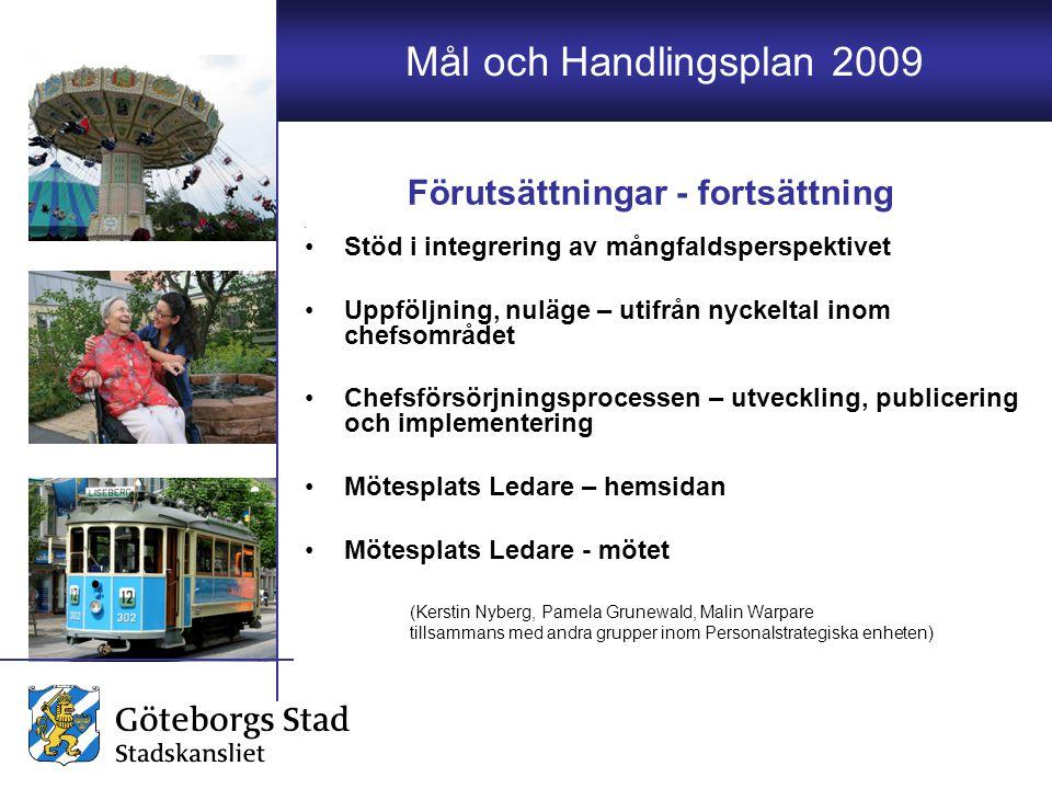 Mål och Handlingsplan 2009 Stöd i integrering av mångfaldsperspektivet Uppföljning, nuläge – utifrån nyckeltal inom chefsområdet Chefsförsörjningsproc