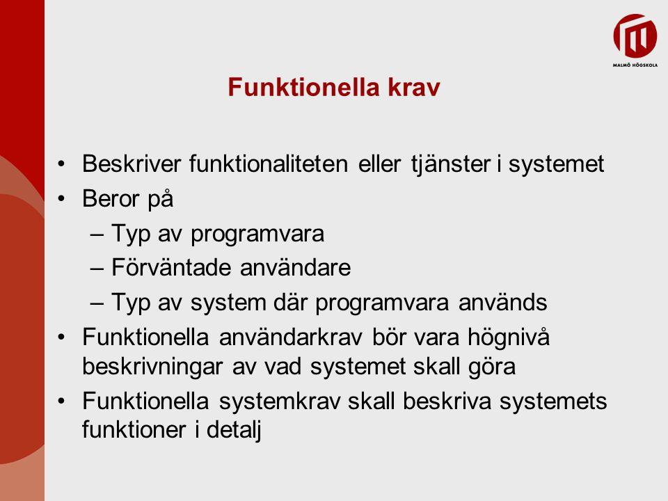 Funktionella krav Beskriver funktionaliteten eller tjänster i systemet Beror på –Typ av programvara –Förväntade användare –Typ av system där programva