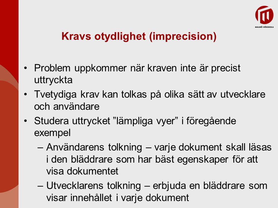 Kravs otydlighet (imprecision) Problem uppkommer när kraven inte är precist uttryckta Tvetydiga krav kan tolkas på olika sätt av utvecklare och använd