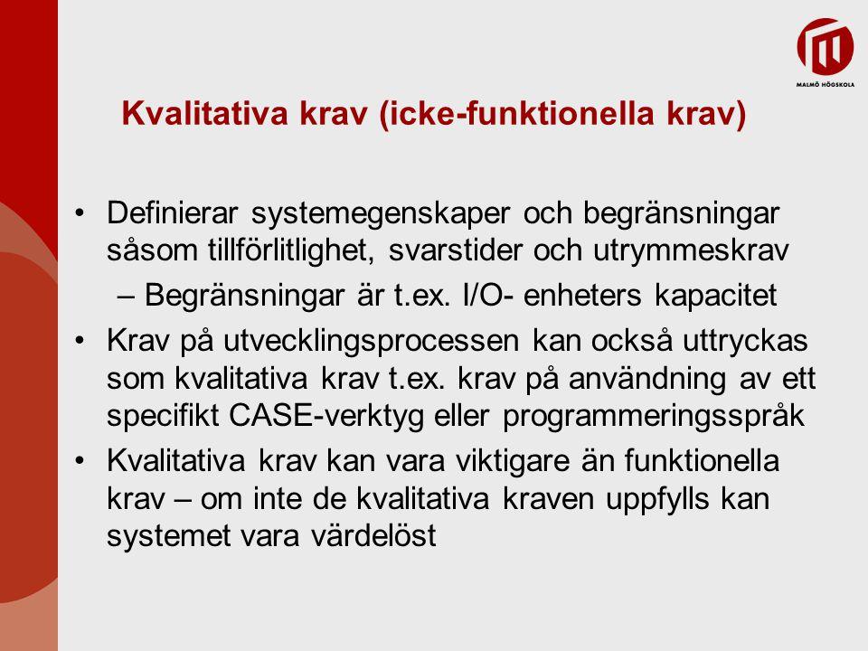 Kvalitativa krav (icke-funktionella krav) Definierar systemegenskaper och begränsningar såsom tillförlitlighet, svarstider och utrymmeskrav –Begränsni