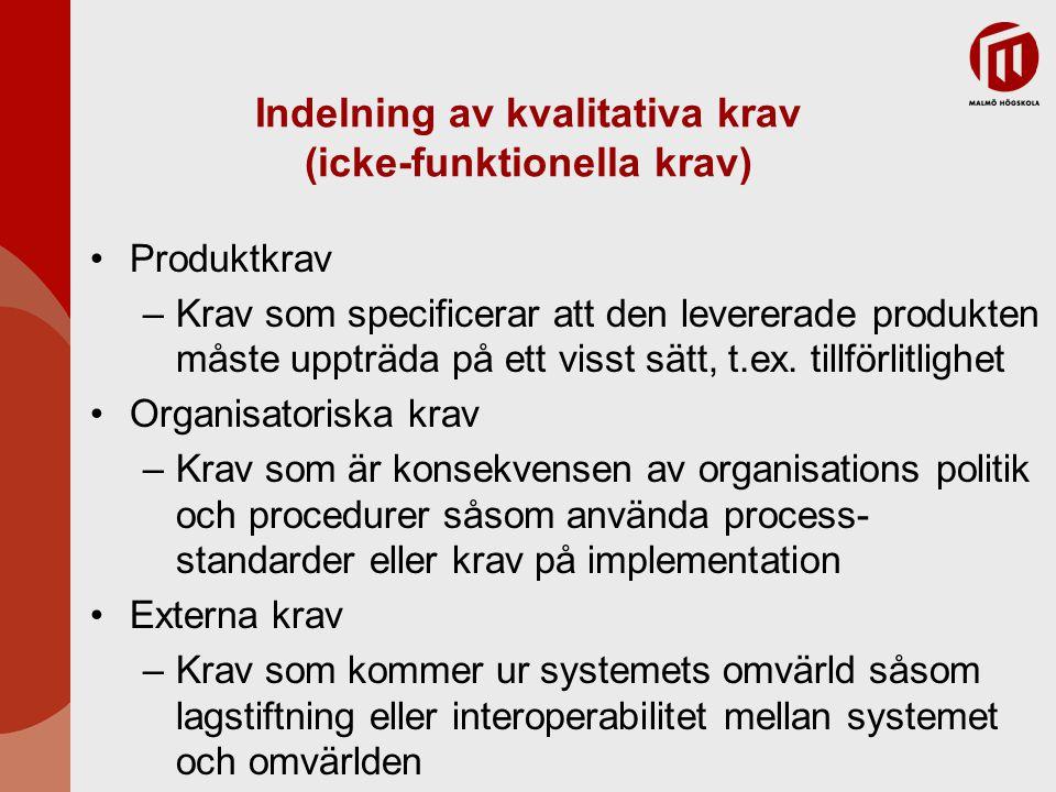 Indelning av kvalitativa krav (icke-funktionella krav) Produktkrav –Krav som specificerar att den levererade produkten måste uppträda på ett visst sät