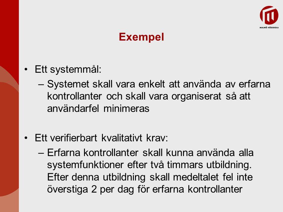 Exempel Ett systemmål: –Systemet skall vara enkelt att använda av erfarna kontrollanter och skall vara organiserat så att användarfel minimeras Ett ve
