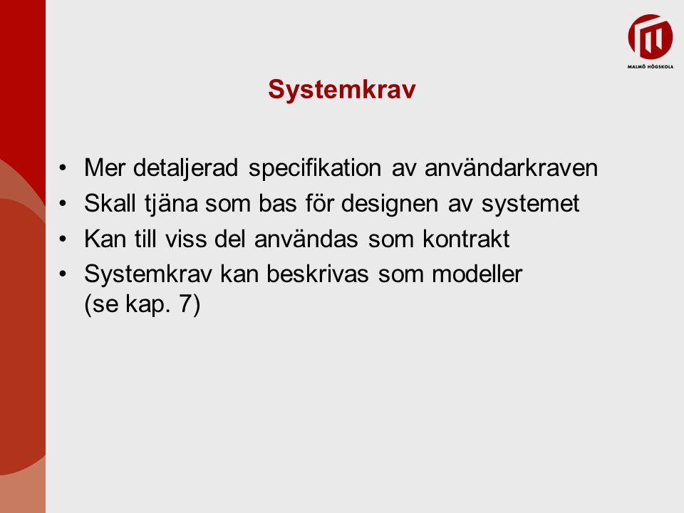 Systemkrav Mer detaljerad specifikation av användarkraven Skall tjäna som bas för designen av systemet Kan till viss del användas som kontrakt Systemk