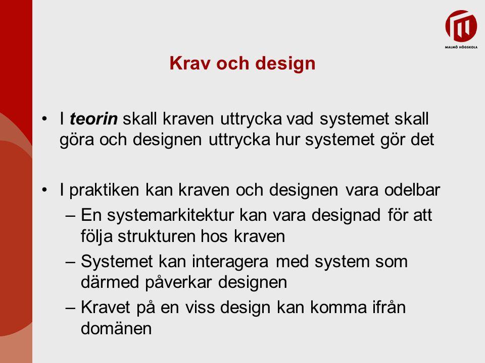 Krav och design I teorin skall kraven uttrycka vad systemet skall göra och designen uttrycka hur systemet gör det I praktiken kan kraven och designen