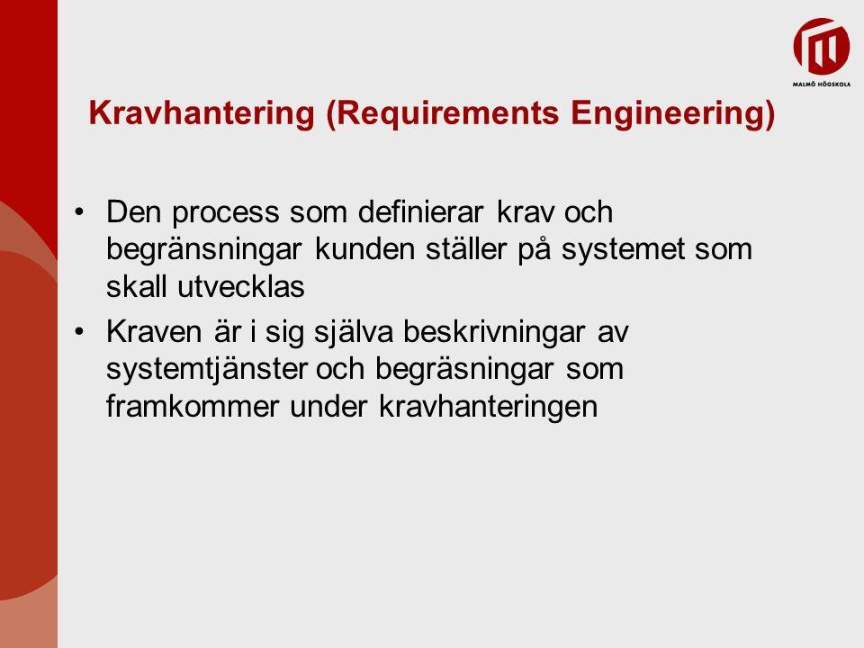 Kravhantering (Requirements Engineering) Den process som definierar krav och begränsningar kunden ställer på systemet som skall utvecklas Kraven är i