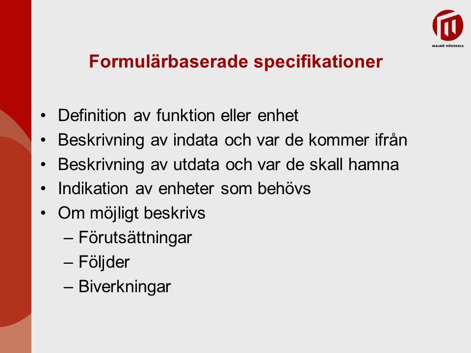 Formulärbaserade specifikationer Definition av funktion eller enhet Beskrivning av indata och var de kommer ifrån Beskrivning av utdata och var de ska